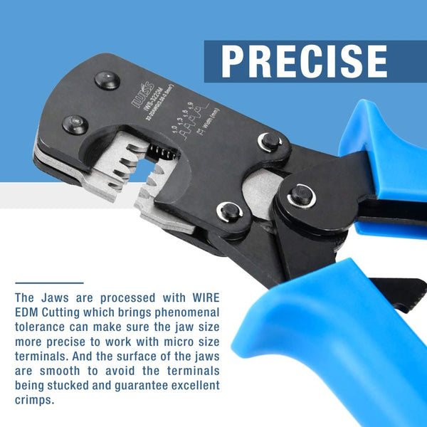 IWISS IWS-3220 Ratchet Crimping Plier Hand Crimper Tools for Narrow-pitch Connector Pins Crimp Range 0.03-0.5mm² (AWG: 32-20)