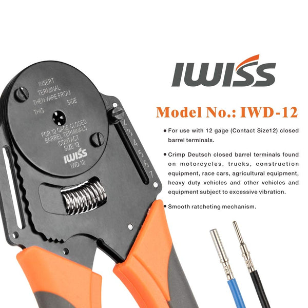 IWISS IWD-12 Closed Barrel Crimper 4 Way Indent,8 Impression Type for Deutsch Solid Contacts gage 12