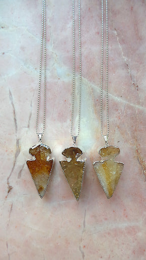 Citrine Silver arrow necklace