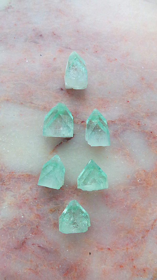Small Natural Green Apophyllite Pyramids