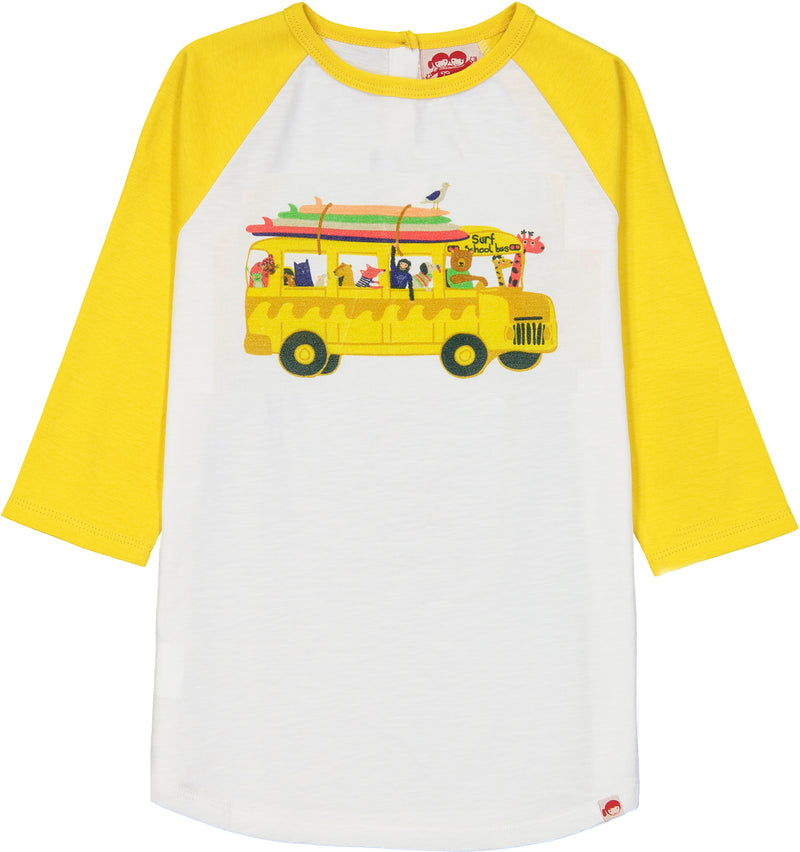 BUNDORAN Organic Cotton Raglan Sleeve T-shirt/Sun Yellow (School Bus)