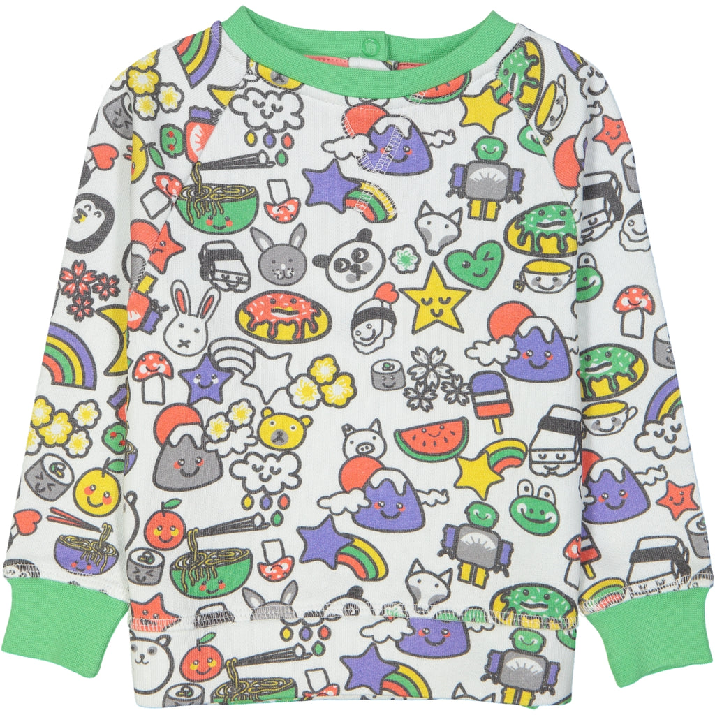SUZUKI All over printed sweatshirt/White