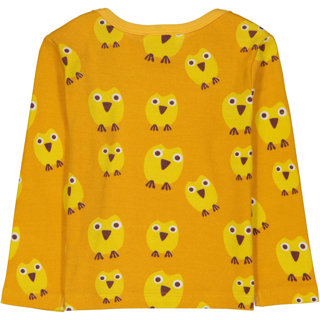 WHISTLER All over printed LS Tootsa Tots T-shirt/Mustard (Owls)