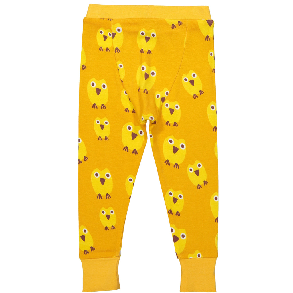 WINNIPEG Tootsa Tots 1x1 Rib Leggings/Mustard (owls)