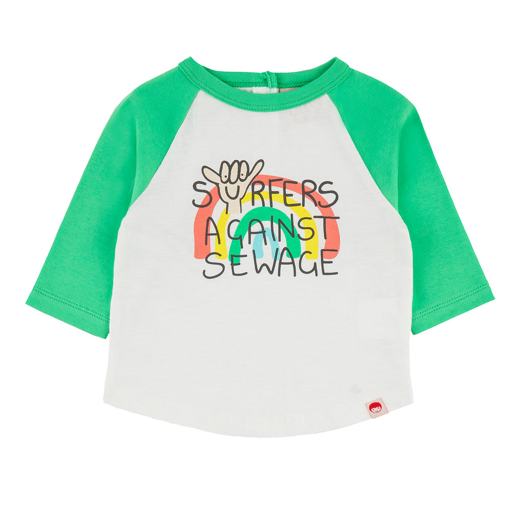 BUNDORAN Tots Organic Cotton Raglan Sleeve T-shirt/Apple Green (SAS)