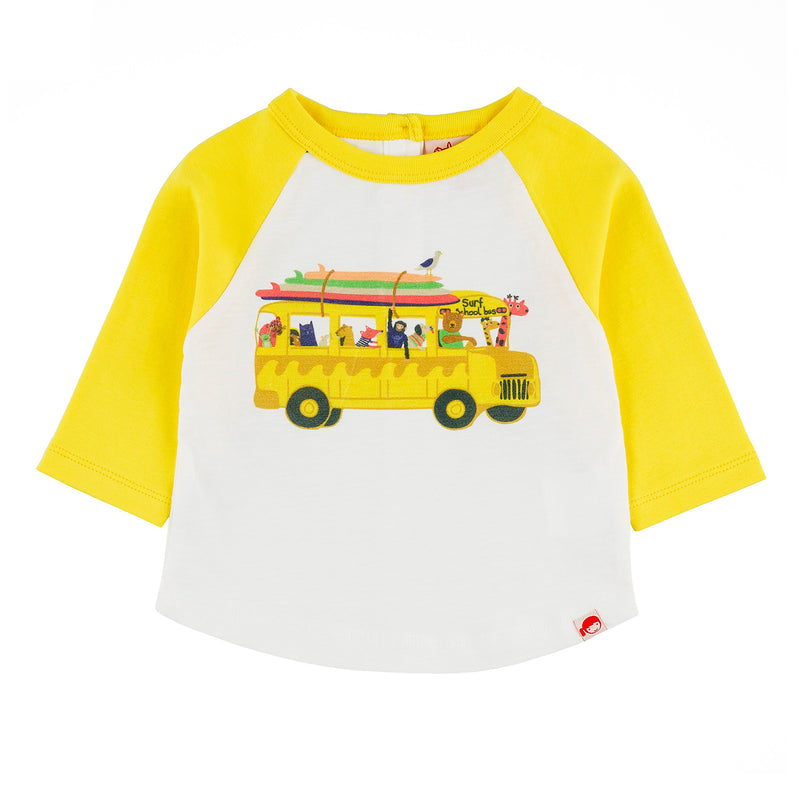 BUNDORAN Tots Organic Cotton Raglan Sleeve T-shirt/Sun Yellow (School Bus)