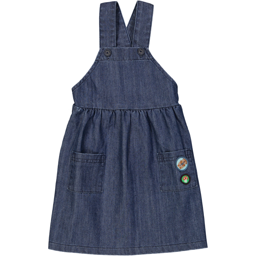 CALGARY Denim Pinafore Dress/Dark Denim