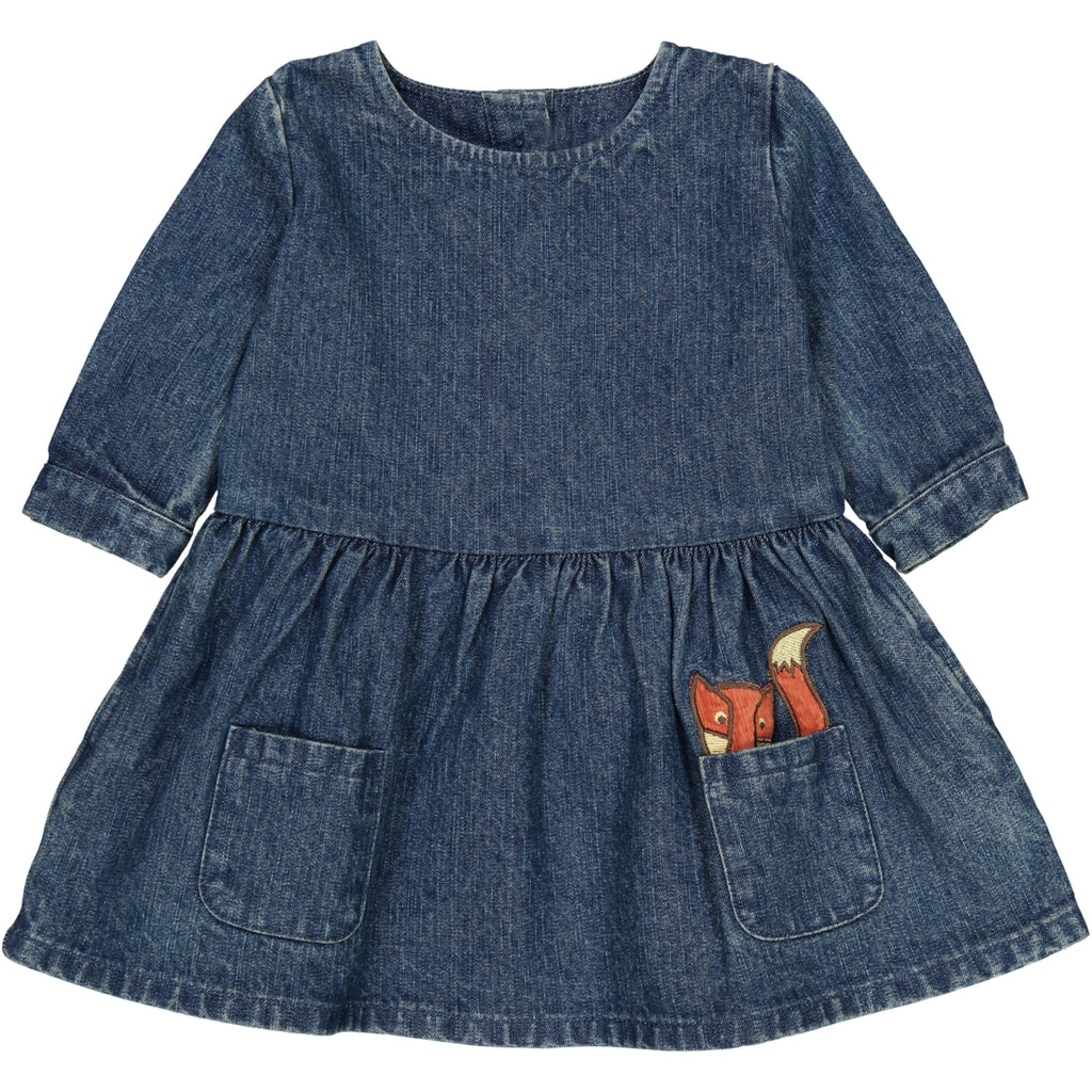 TOOTSA CLASSIC BABY UNISEX DENIM SMOCK DRESS/Washed Blue