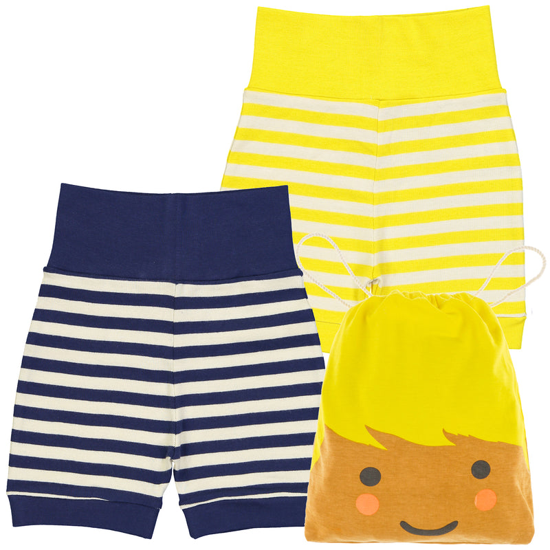 ESSENTIAL Baby Unisex Organic Cotton Bloomer Shorts (Pack of 2)/Sun, Navy