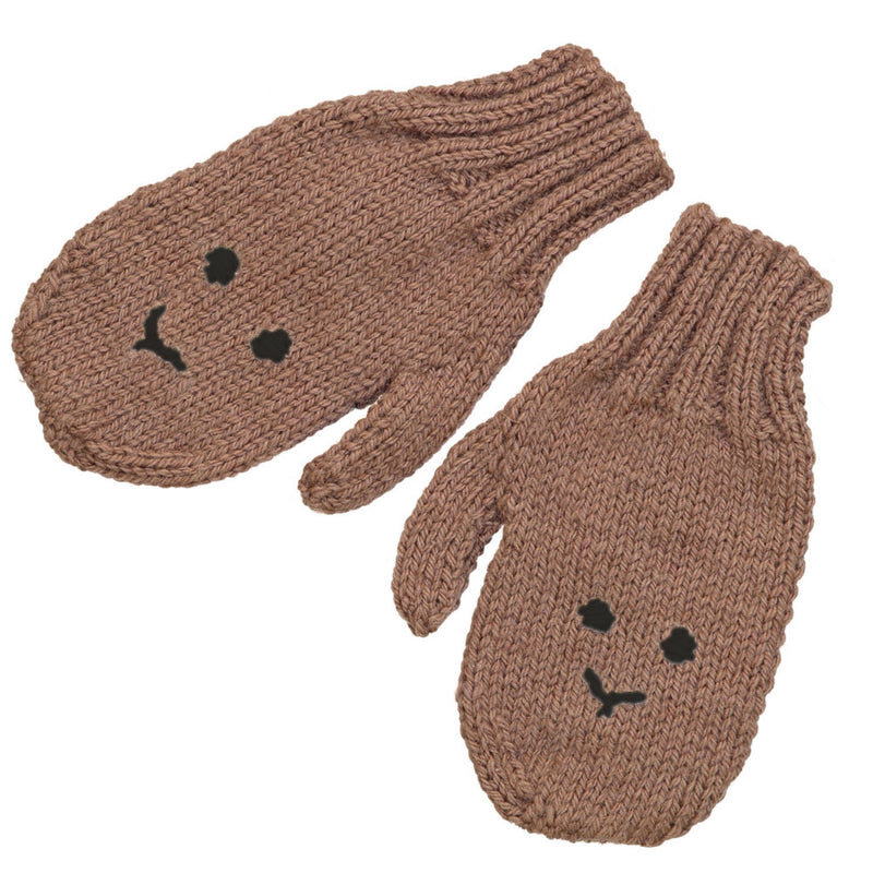 Hand Knitted Rabbit Mittens / Fudge