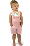 SHAKO Tots Linen & Cotton Shorts with Removable Bib/Coral