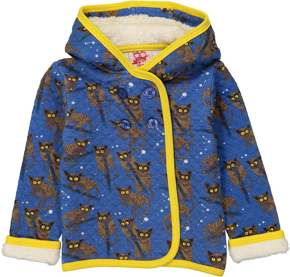 HEDGEHOG Baby Unisex Quilted Organic Cotton Hooded Sweatshirt/Federal Blue