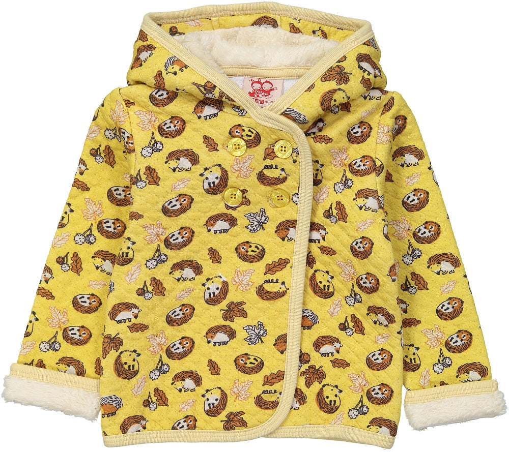 HEDGEHOG Baby Unisex Quilted Organic Cotton Hooded Sweatshirt/Mustard