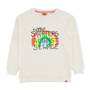 SURFERS AGAINST SEWAGE Organic Cotton Printed Sweatshirt/Whisper
