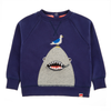 SHARK Tots Zip Mouth Organic Cotton Sweatshirt/Denim Blue