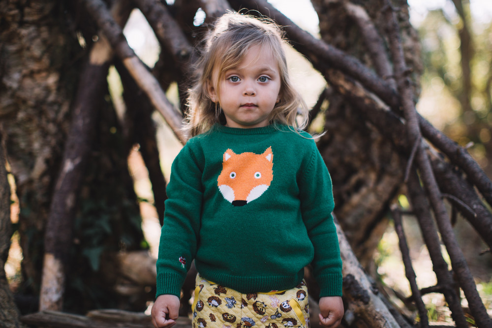 TOOTSA CLASSIC FOX Baby Unisex Jacquard Knit Jumper/Kelly Green
