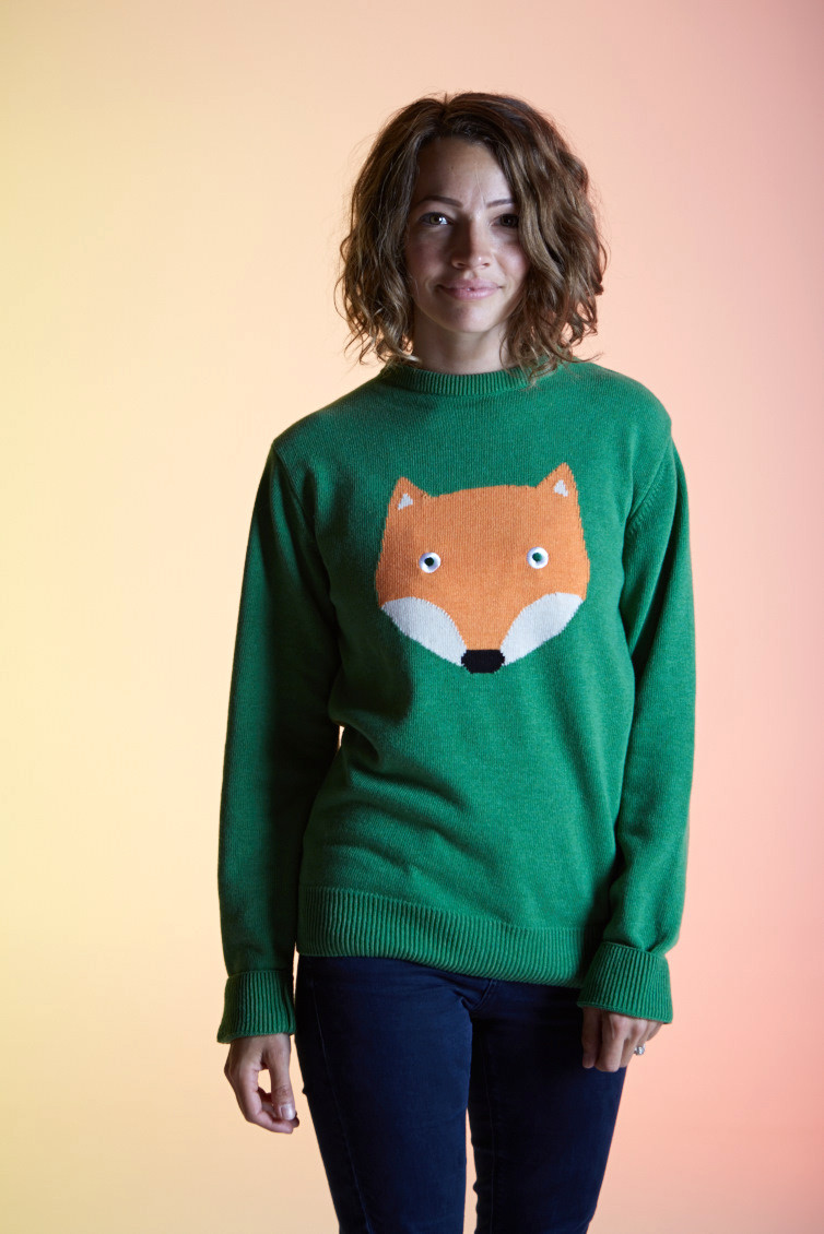 TOOTSA CLASSIC FOX Adult Sized Jacquard Knit Jumper/Kelly Green