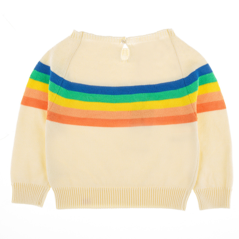 PIPELINE RAINBOW YOKE Tots Organic Cotton Knit Jumper/Cream