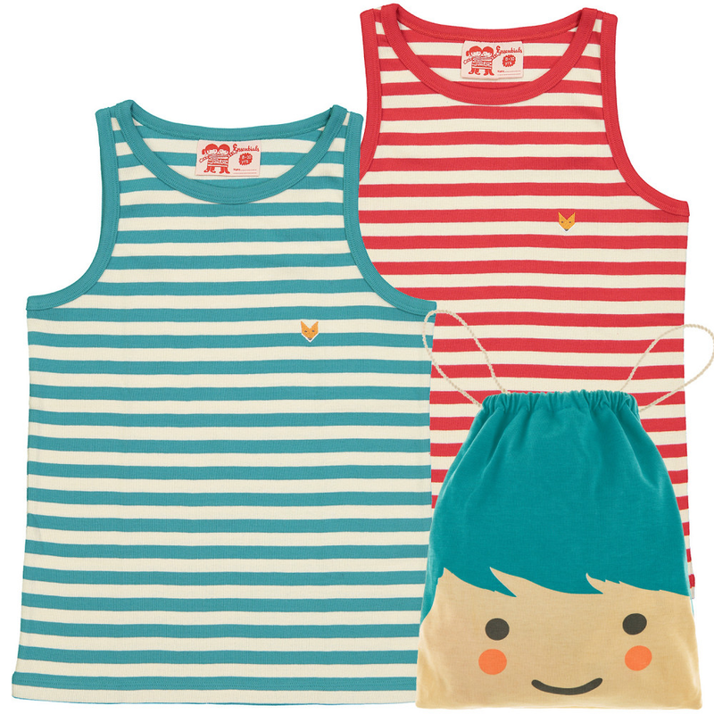 pack of striped Organic Cotton vest tops with cute draw string bag