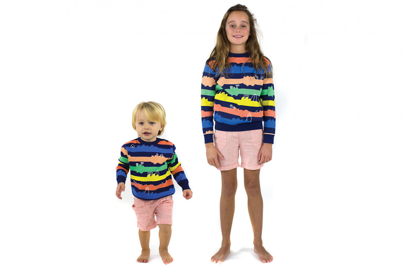 MONSTER MUSH Organic Cotton Stripe Knit Jumper/Indigo