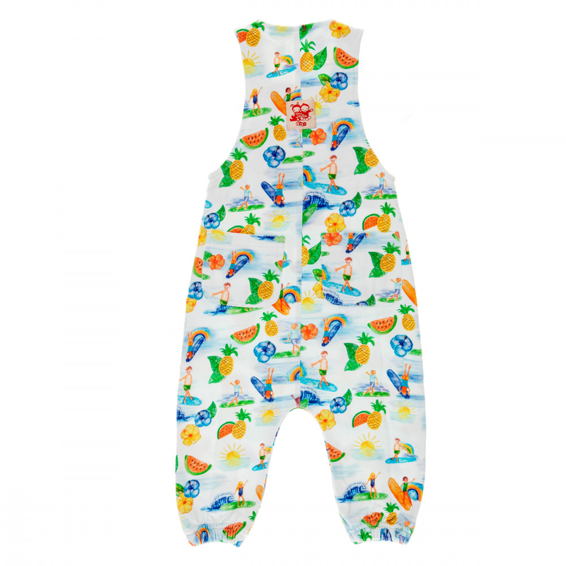 ANCHOR POINT Tots Organic Cotton Jersey Dungarees/White (Hawaiian)