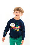 TOOTSA FOR CONRAN Baby Christmas Jumper / Dark Blue (Santa Rocket)