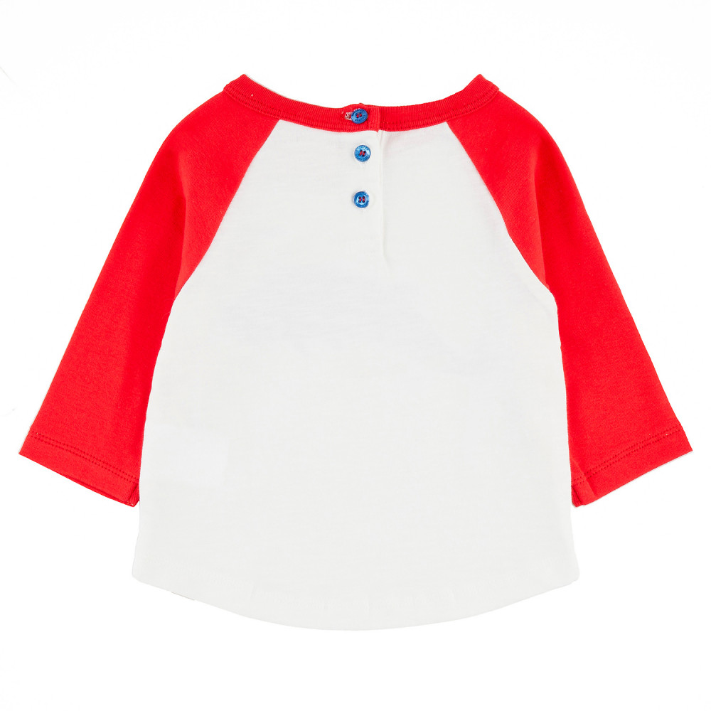 BUNDORAN Tots Organic Cotton Raglan Sleeve T-shirt/Bright Red (Whale)