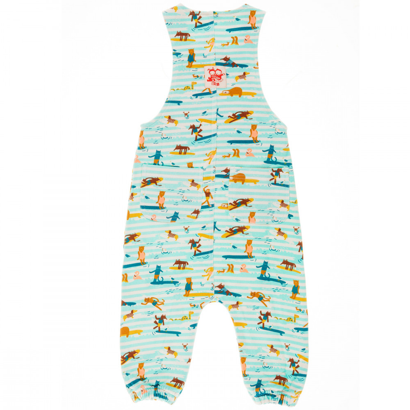 ANCHOR POINT Tots Organic Cotton Jersey Dungarees/Aruba Blue (Surfers Stripe)