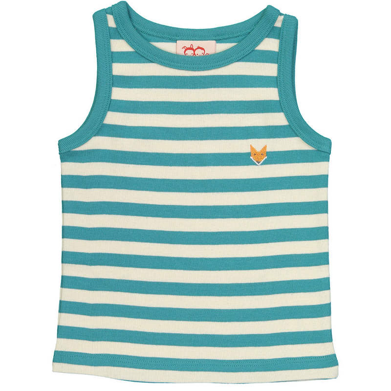 ESSENTIAL Baby Unisex Organic Cotton Striped Vest Tops (Pack of 2)/Bright Red, Teal