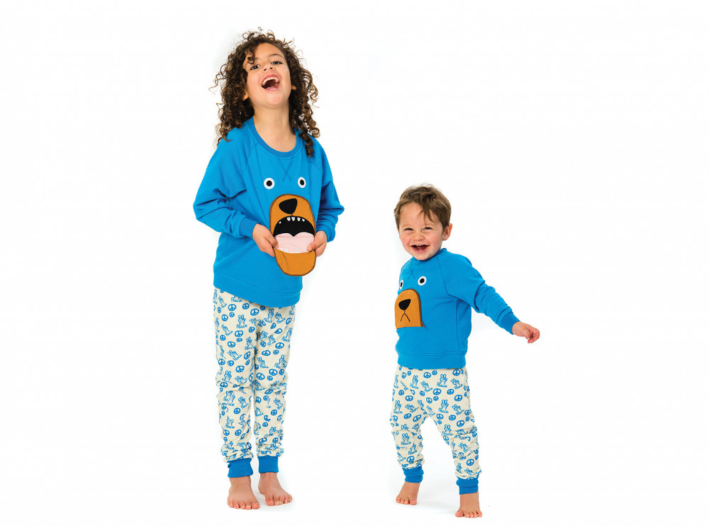TOOTSA CLASSIC BEAR Baby Unisex Zip Mouth Organic Cotton Sweatshirt/Bright Blue