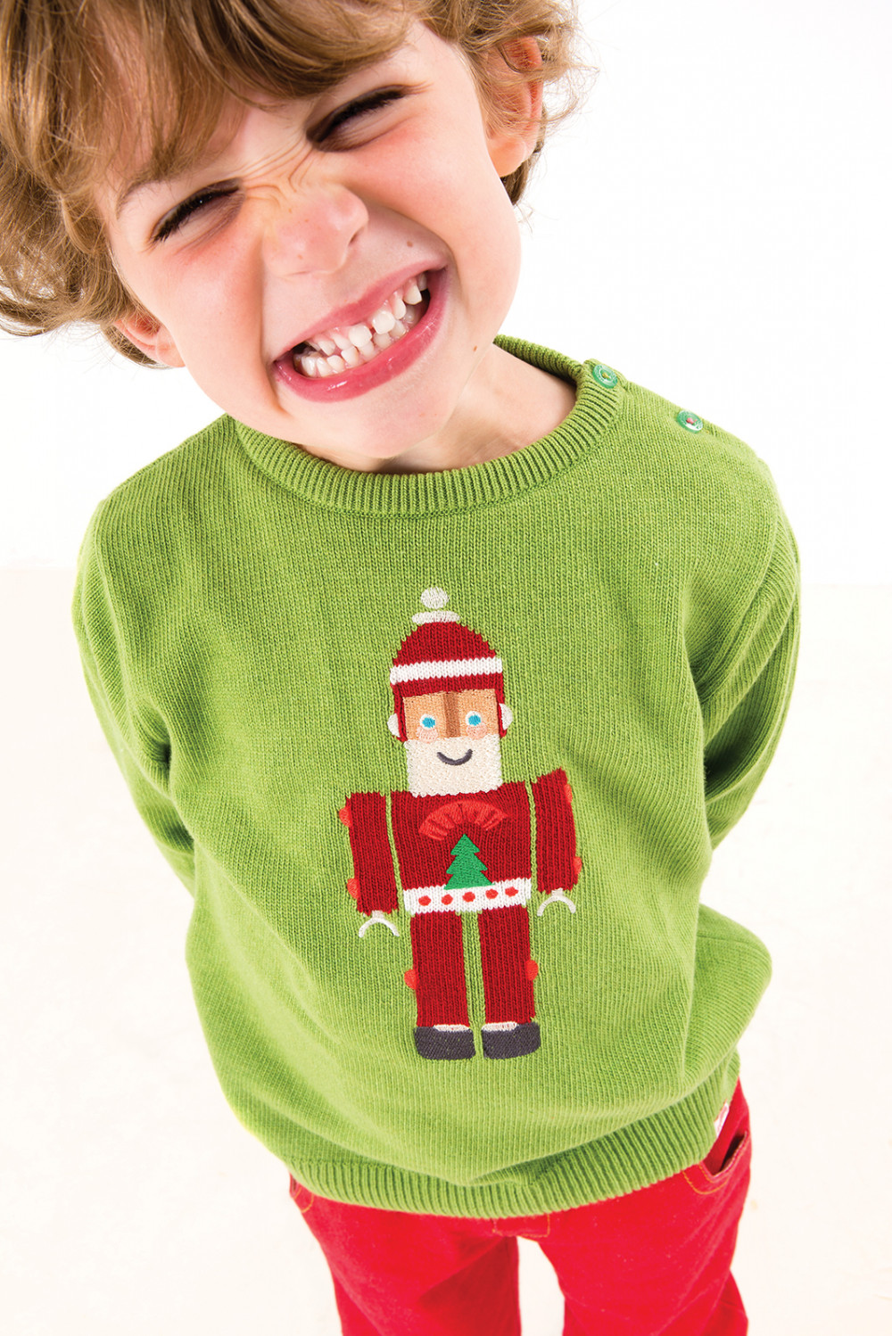 TOOTSA FOR CONRAN Baby Christmas Jumper / Green (Santa Robot)
