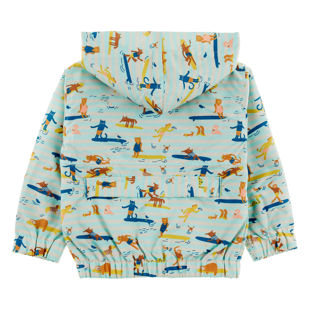 MAUI Tots All Over Printed Rain Jacket/Aruba Blue (Surfers Stripe)