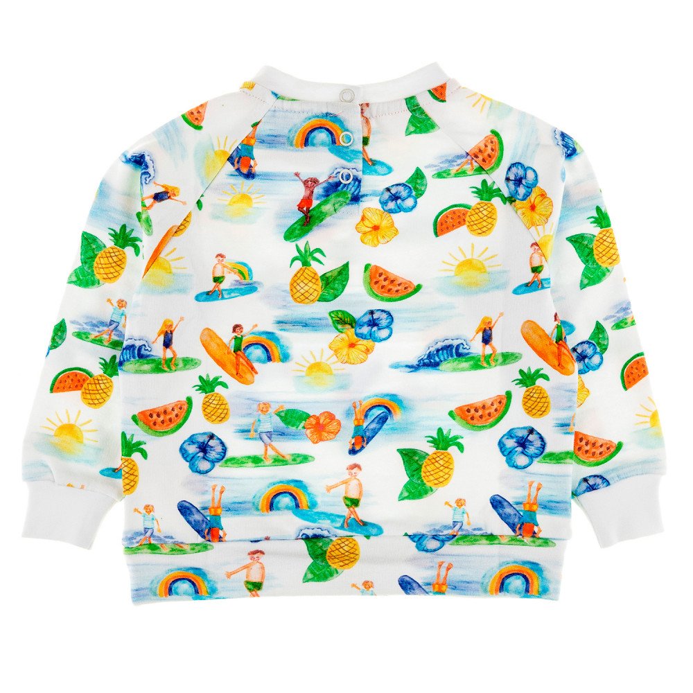 SUPERTUBES Tots Organic Cotton Printed Sweatshirt/White (Hawaiian)