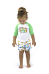 MALIBU Tots Organic Cotton Jersey Shorts/White (Hawaiian)