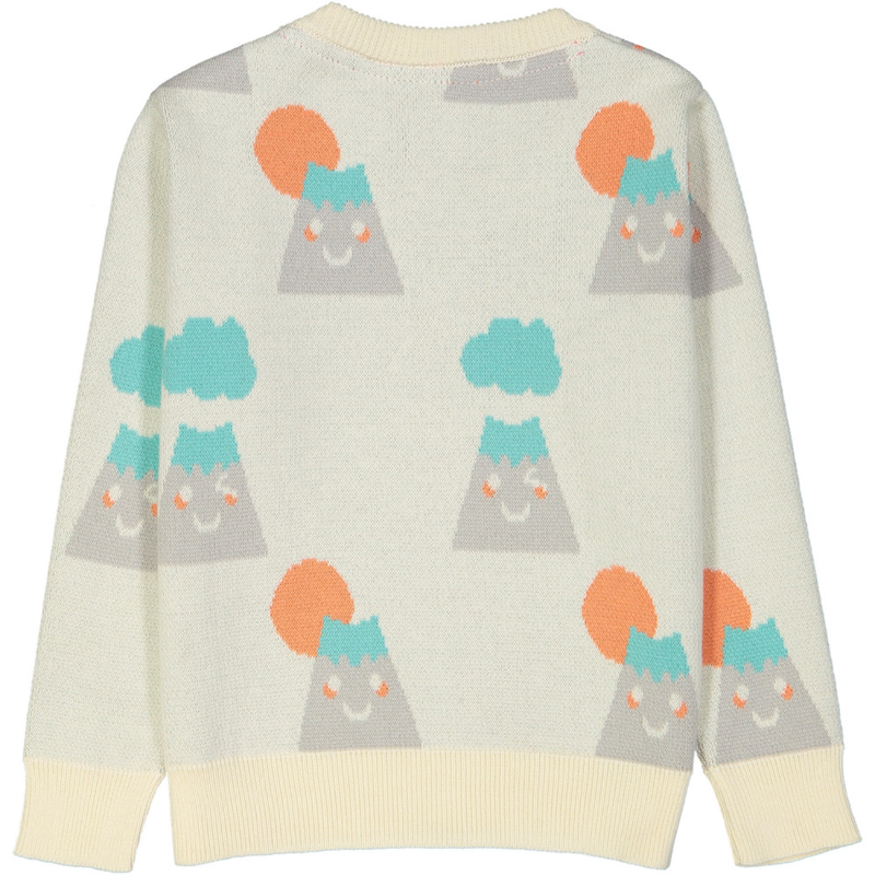 SAKURA Repeat jacquard pique knit jumper/Cream