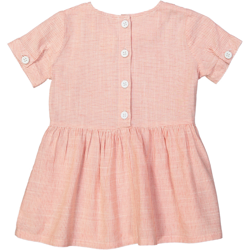 YOKOHAMA Linen & Cotton Smock Dress/Coral