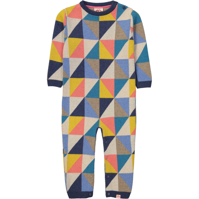 KUMIKO Tootsa Tots Knitted Romper/Multicoloured (Triangles)