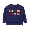 LET THEM BE LITTLE Tots Organic Cotton Embroidered Sweatshirt/Indigo