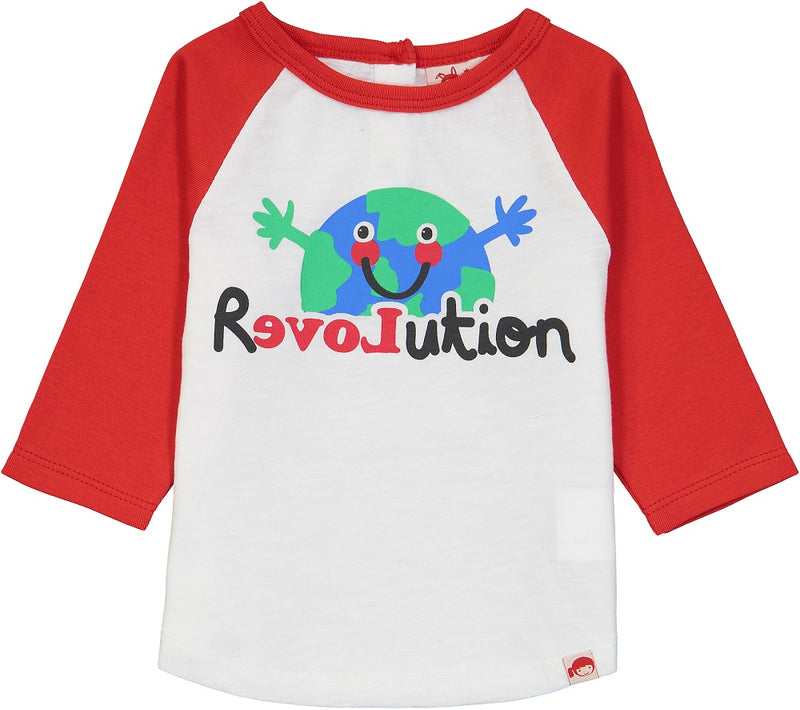 MANIS Baby Unisex Organic Cotton Raglan Sleeve T-Shirt/Bright Red