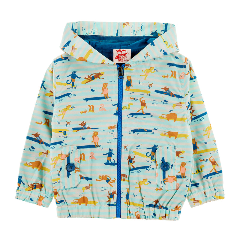 MAUI All Over Printed Rain Jacket/Aruba Blue (Surfers Stripe)