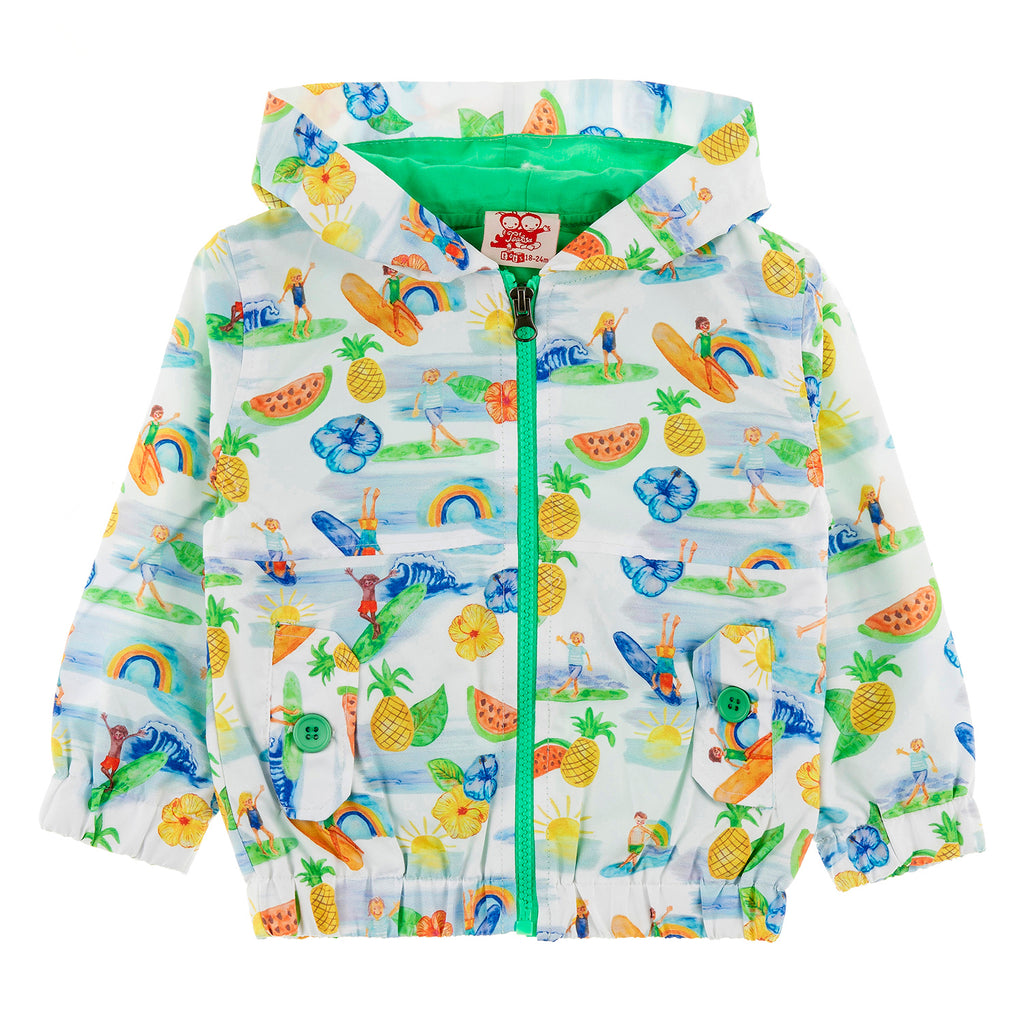 MAUI All Over Printed Rain Jacket/White (Hawaiian)