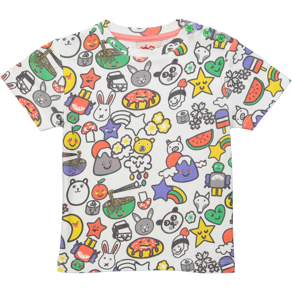 ORIGAMI All over printed Tootsa Tots T-Shirt/White