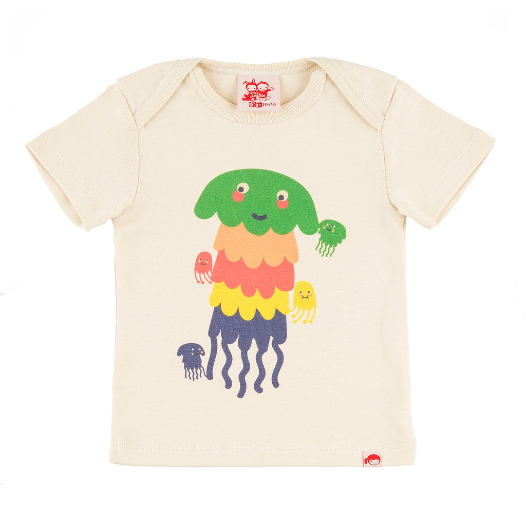 PASTA POINT Tots Organic Cotton Slim Fit T-shirt/Cream (Jellyfish)