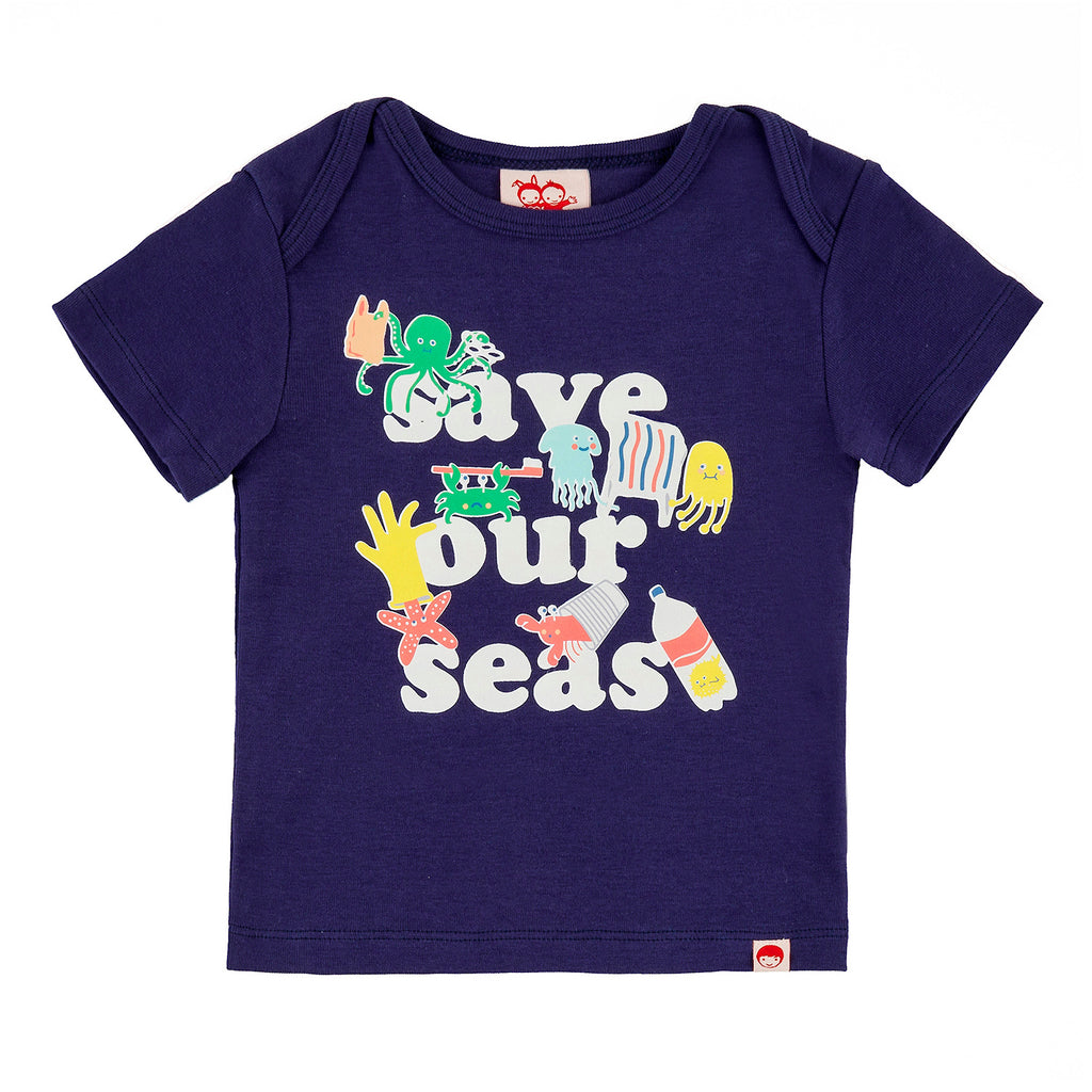 PASTA POINT Tots Organic Cotton Slim Fit T-shirt/Indigo (Save Our Seas)