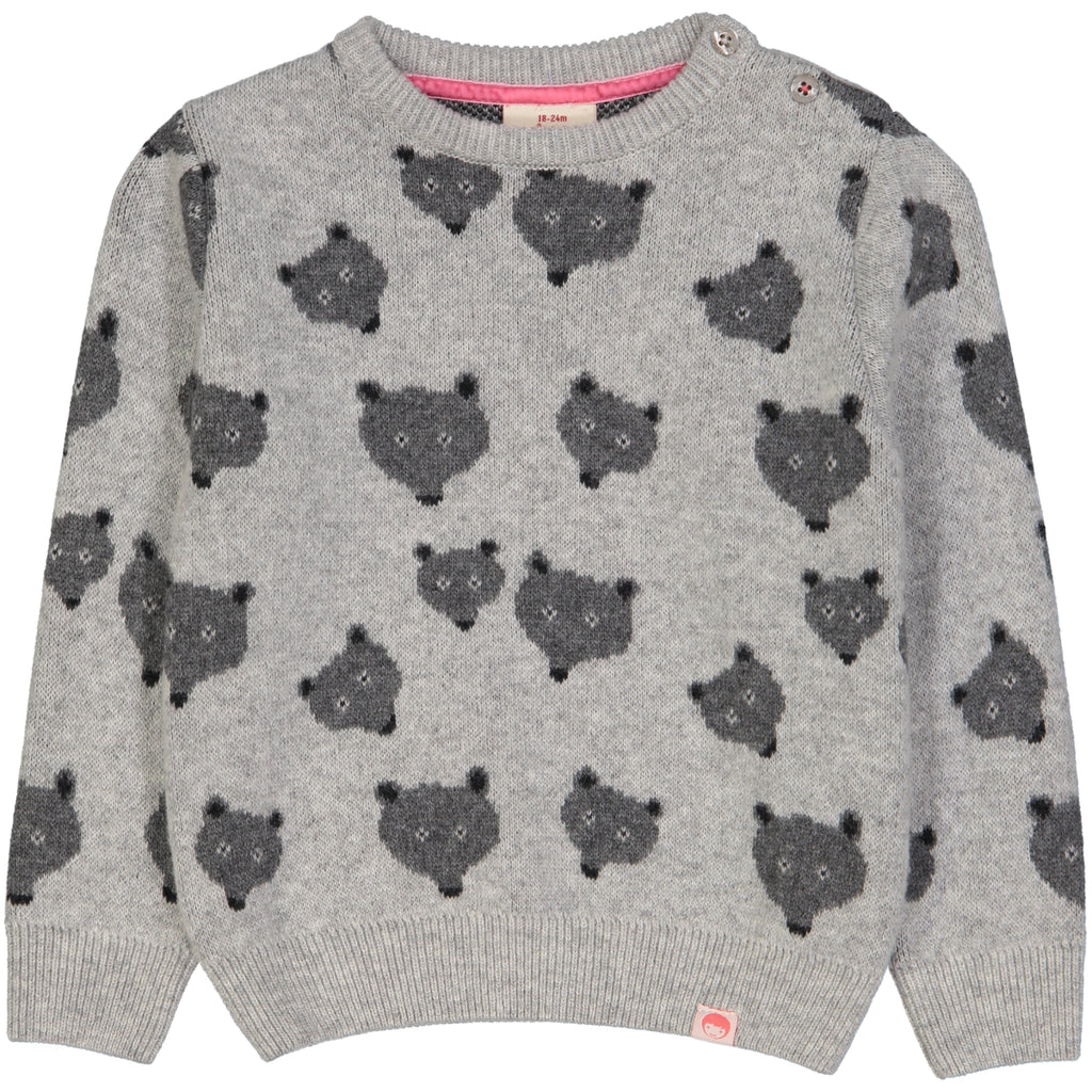 QUEBEC Jacquard Pique Knit Jumper/Light Heather Grey (Bears)