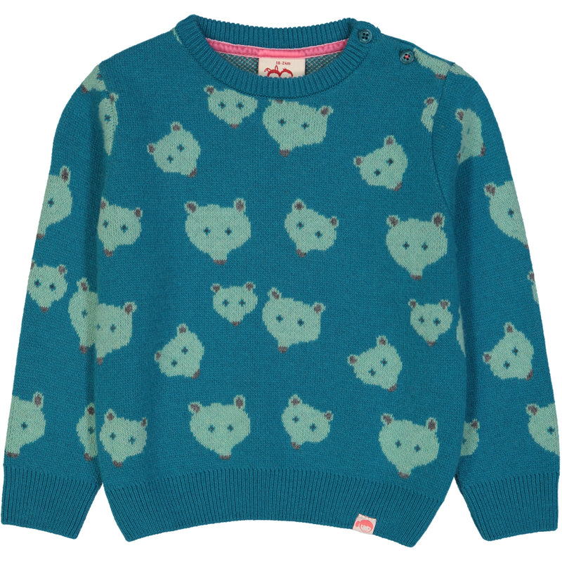 QUEBEC Jacquard Pique Knit Jumper/Stormy Blue (Bears)