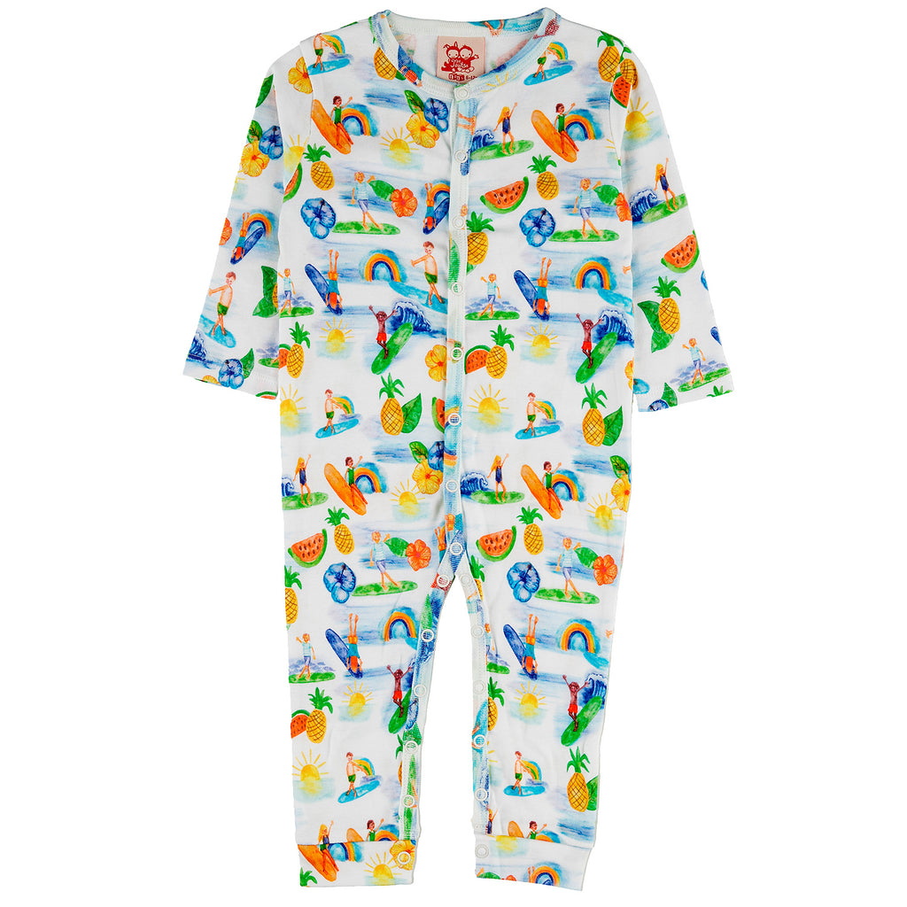 RINCON Tots Organic Cotton Romper/White (Hawaiian)