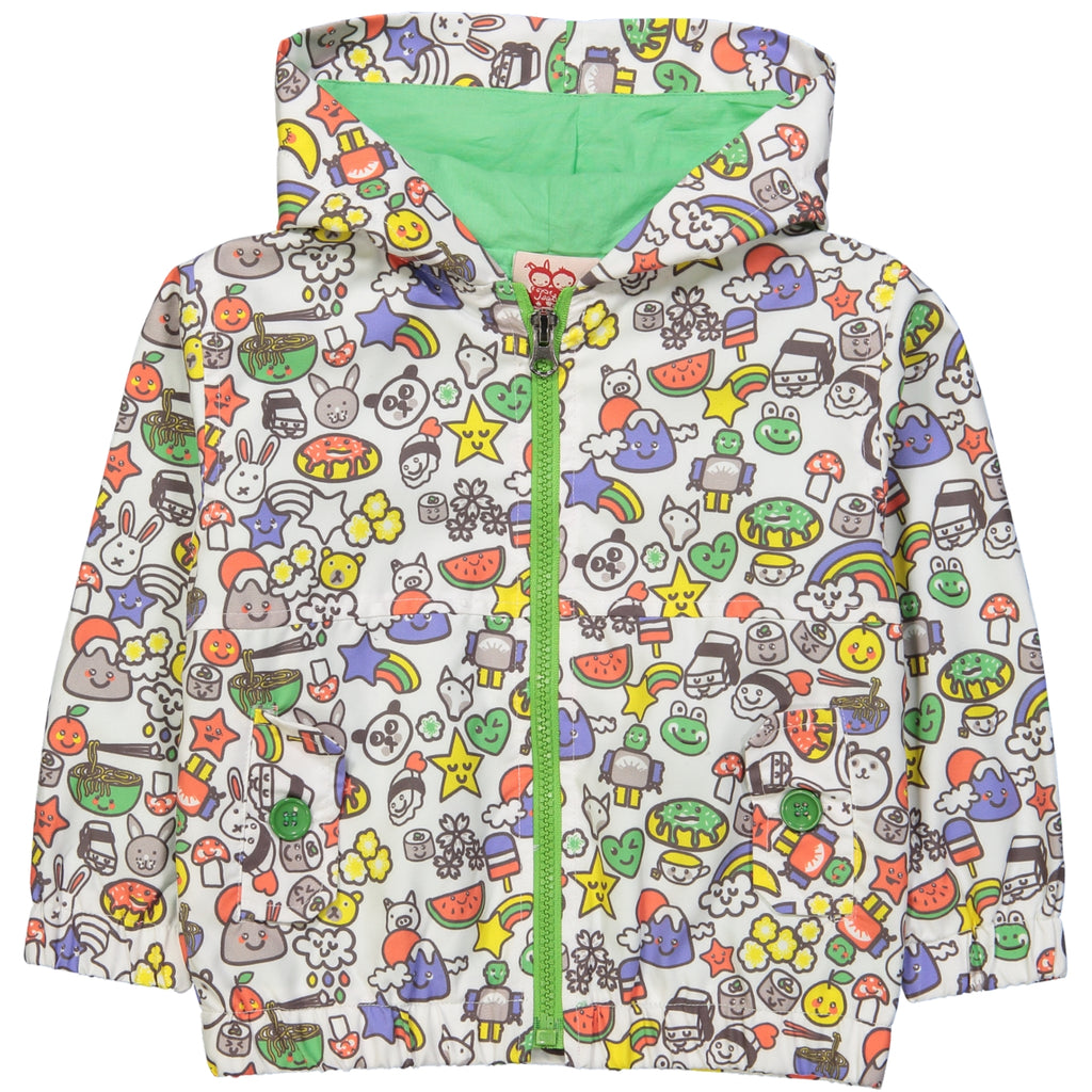 Kozi All over printed rain jacket/White