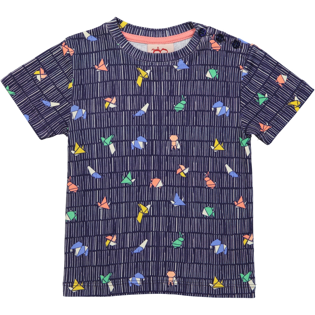ORIGAMI All over printed T-Shirt/Navy
