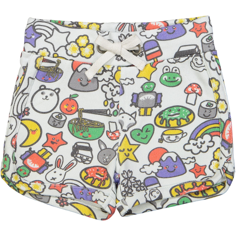 SOPORRO All over printed jersey shorts/White